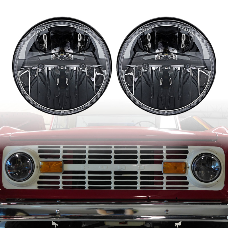 Truck Lite Style 7 Round Heated LED Headlights with H4 to H13 for Jeep JK Wrangler 2 door to 4 door