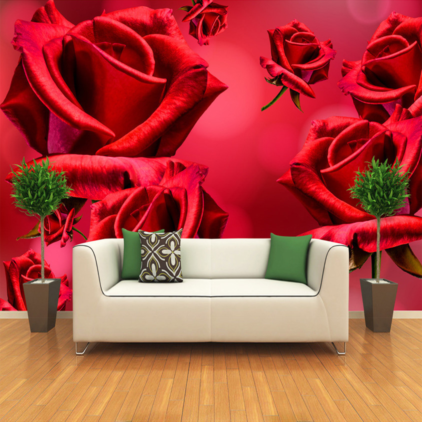 Custom Photo Wallpaper 3D Wall Mural Wallpaper For Living Room Sofa TV Background Wall Covering Red Rose Flower Papel De Parede