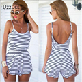 Summer Sexy Women Spaghetti Strap Backless Striped Print Casual Tunic Beach Jumpsuit Romper Overalls Macacao Feminino