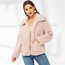 COLROVIE rosa de bolsillo delantero abierto Teddy Chaqueta Preppy abrigo  para mujer 2019 Coreana de primavera cálido abrigo muje. 2155b4423956