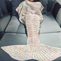 180x90cm Ripple Soft Wool Knitted Mermaid Tail Blanket Adult Handmade Crochet Yarn Mermaid Blanket Sofa Warm Wrap Sleeping Bag