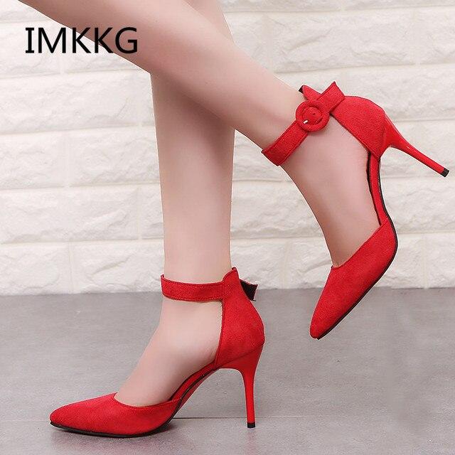 0a7649edd785 2018 nouveauté coréenne Concise bout pointu chaussures de bureau femmes  mode solide troupeau peu profond chaussures à talons hauts pour les femmes  V008