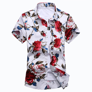 Image 2 - HCXY Camiseta de verano para hombre, camisa de manga corta ajustada con estampado Floral, ropa de tendencia para hombre, camisas informales con flores, talla M 7XL, 2019