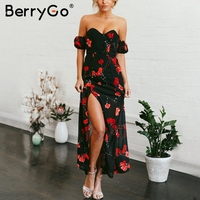 BerryGo Off Shoulder Chiffon Summer Dress Flower Print Long Dress Women Casual 2018 Spring Split Maxi