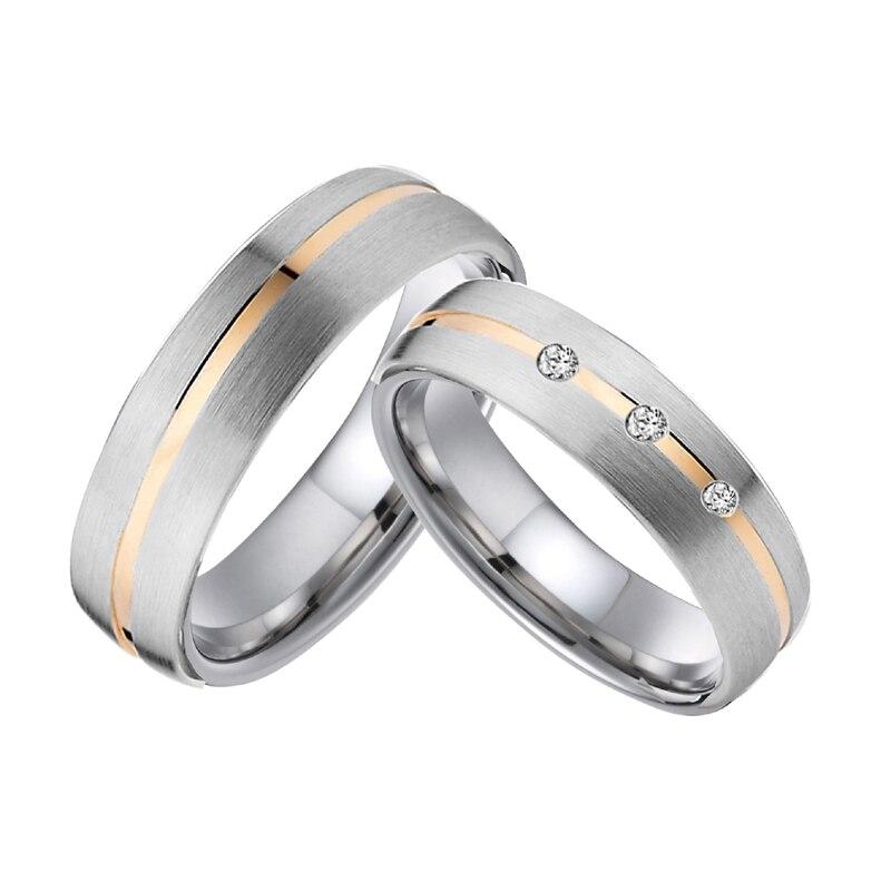 1 paire personnalisée couleur or rose hommes mariage bande femmes couple anneaux titane bijoux anniversaire promesse anneau