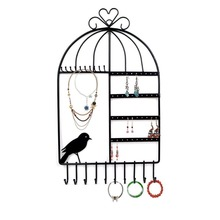 bincoco Birdcage Shape Wall Mount Jewelry Organizer Hanging Earring Holder Necklace Jewelry Display Stand Rack Black shelf