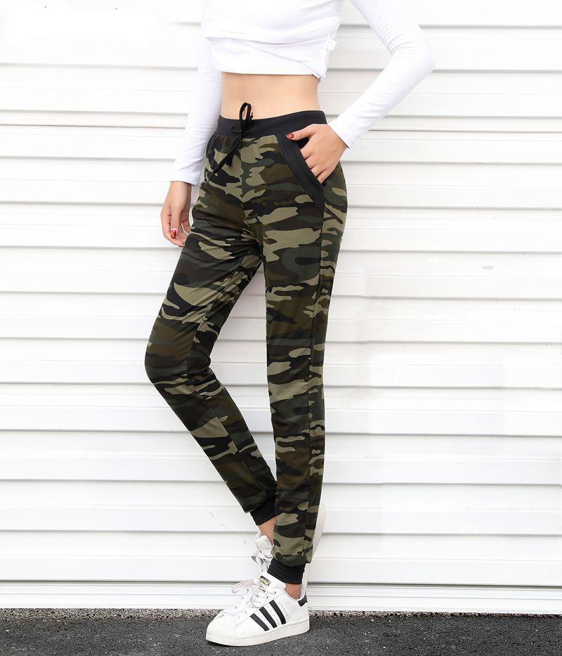 Camuflaje Joggers Mujer Pantalones de chándal Harem Camo Pantalones cordón Mujer Calca suelta Mujer alta cintura bolsillo