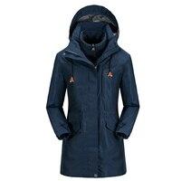 3 In 1 Winter Long Sport Hiking Skiing Windstopper Waterproof Outdoor Jacket Women Camping Coat Fleece Lining Jaqueta Feminina