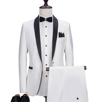 White Black Collar Wedding Suits Male Costume Homme Mariage Smoking Masculino Terno Masculino Slim Fit Jacket+pant