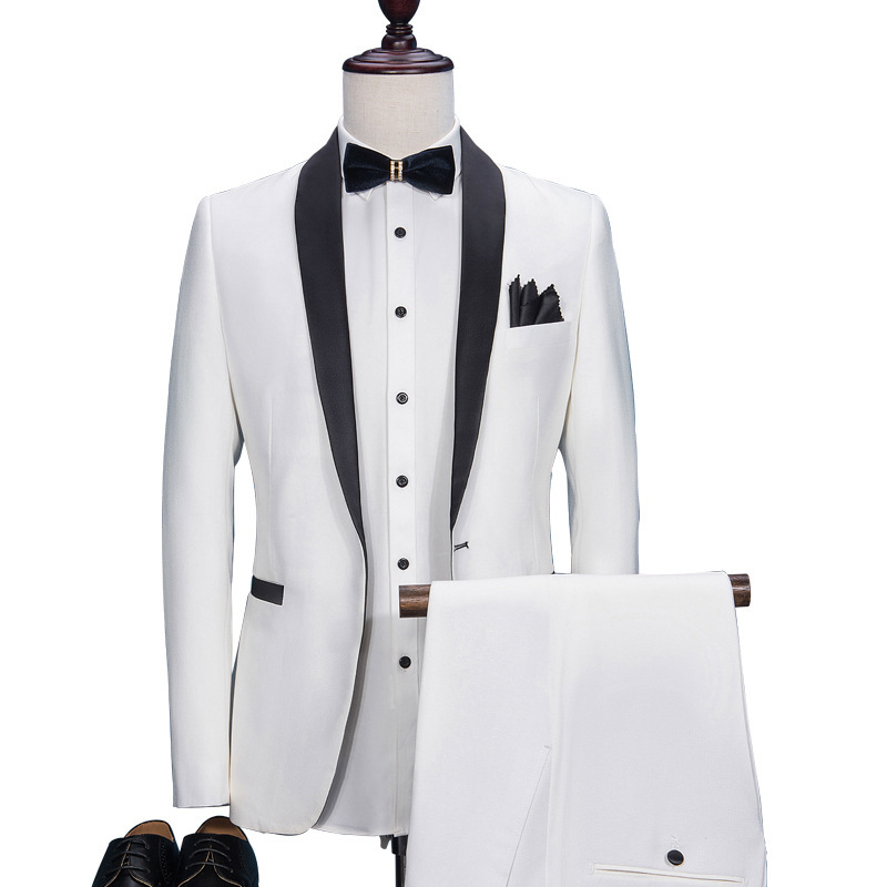 White Black Collar Wedding Suits Male Costume Homme Mariage  Smoking Masculino Terno Masculino Slim Fit Jacket+pant