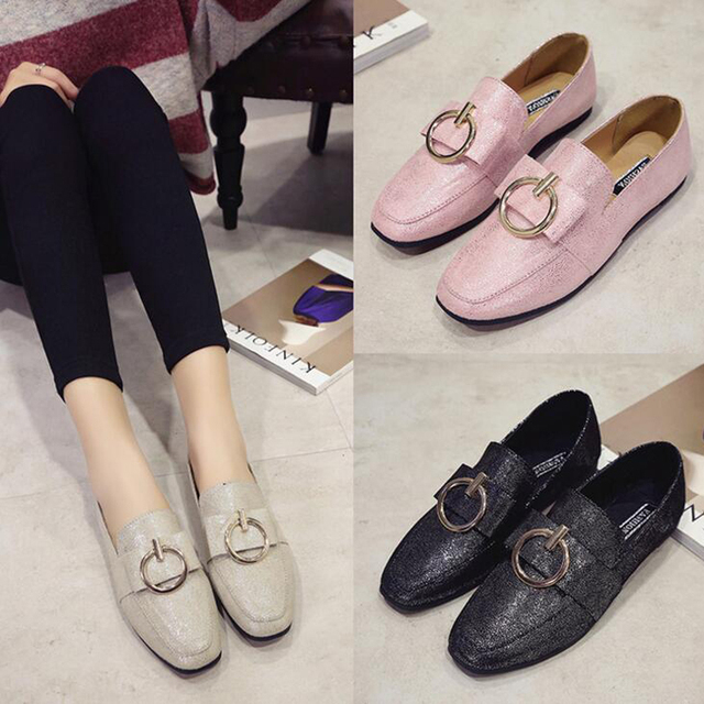 HEE GRAND 2017 New Style Women Flats Spring Autumn Square Toe Metal Decoration Slip-on Flat Shoes for Woman XWD5430