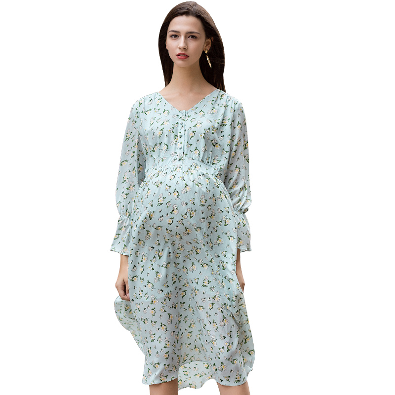 Loveincolors Maternity Shivering Dress Pregnant Spring Soft Chiffon Women Big Size Clothes