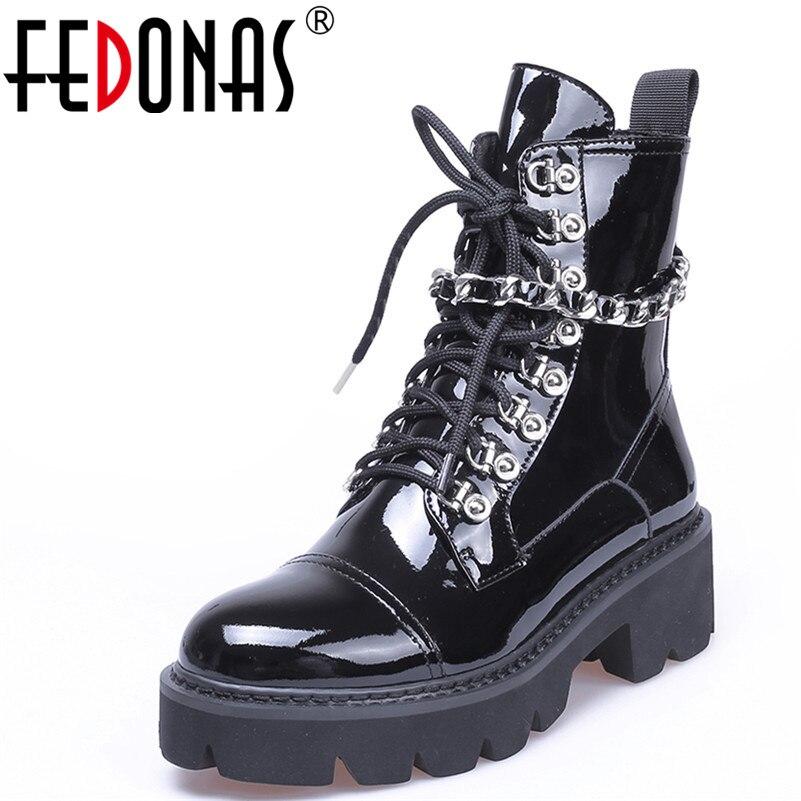 FEDONAS1Fashion женские ботильоны круглый носок осень-зима теплая женская обувь на высоком каблуке цепи панк лакированные кожаные мотоциклетные с...