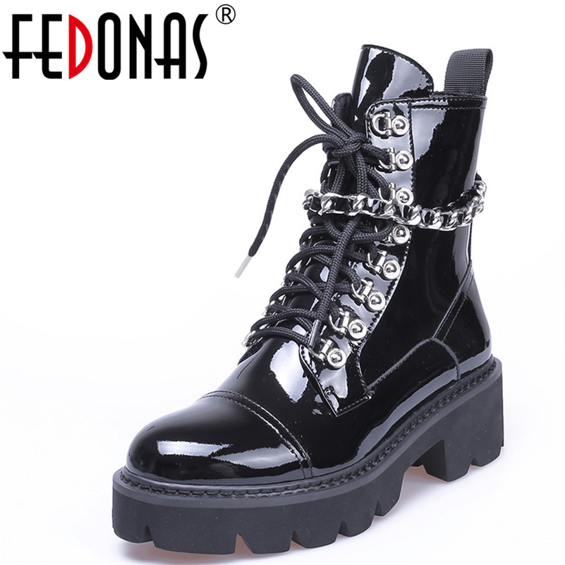 FEDONAS1Fashion Women Ankle Boots Round Toe Autumn Winter Warm High Heels Shoes Woman CHain Punk Patent Leather Motorcycle Boots недорго, оригинальная цена