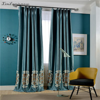 Pearl Velvet Full Shade Towel Embroidery European Embroidery Curtains For Living Dining Room Bedroom