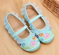 Girls Shoes Mary Jane Small Flower Embroidery Lace Chinese Traditional Shoes Vintage Princess Dancing Shoes Flat