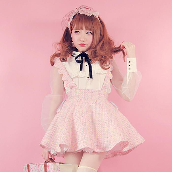 Princess sweet lolita BOBON21 Exclusive design waves petals straps bow Braces skirt B1173
