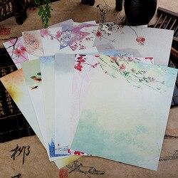 8 pçs estilo chinês envelopes flores do vintage decoração escrita carta de papel conjunto para material escolar escritório estudante papelaria