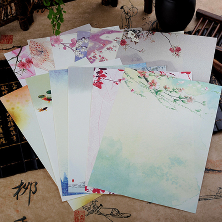 8 pcs Chinese Style Envelopes Vintage Flowers Decoration Writing Paper Letter Set For Student Office School Supplies Stationery