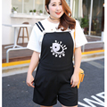 2017 New Fashion Women Elegant Cartoon Print Sleeveless Jumpsuits Black Spaghetti Strap Plus Size Casual Slim Rompers C754