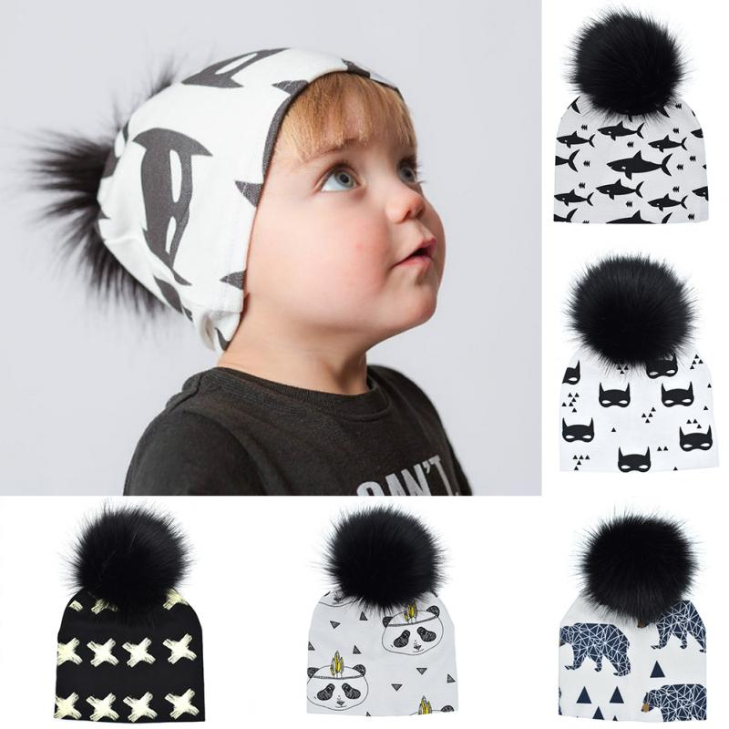 Autumn Winter Baby Boys And Girls Kids Animals Printed Earmuffs Hat Faux Fur Ball Hat Beanie Knitted hat baby toque
