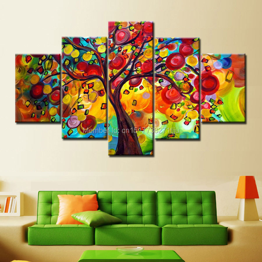 Hand Painted Colorful Tree Oil Paintings 5 Piece Canvas