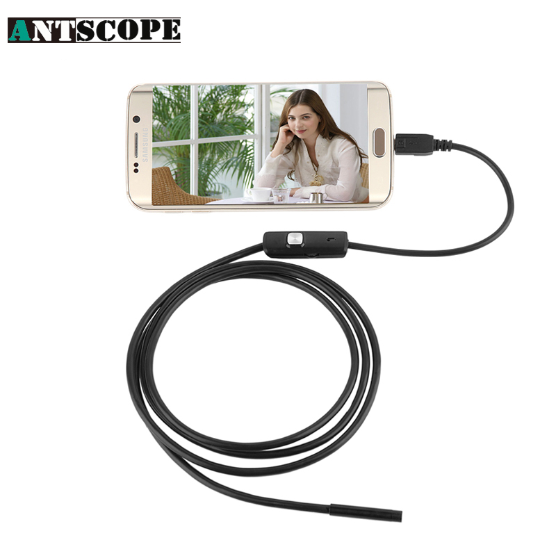 Antscope 130W 720P HD 7mm lens inspection Pipe 1M Endoscope For Android Phone With OTG IP67 Waterproof Side mirrors USB Camera 7mm lens mini usb android endoscope camera waterproof snake tube 2m inspection micro usb borescope android phone endoskop camera