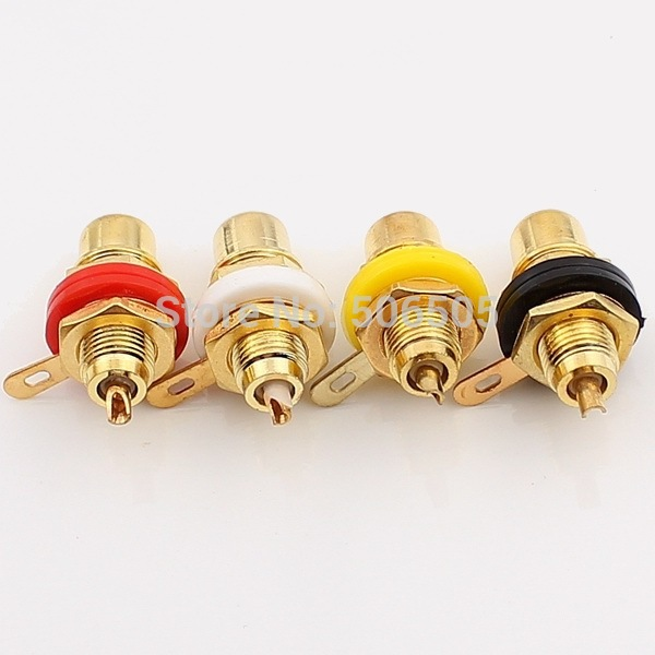 Free shipping 4 Colour Gold Plated RCA socket RCA connector 8pcs/lot gold plated socket pixhawk px4 247