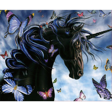 Black unicorn diamond Embroidery diy painting mosaic diamant 3d cross stitch pictures H837
