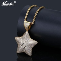 MISSFOX Hip Hop Star Iced Out Pendant 24K Gold Plated High Quality Cubic Zirconia Free Shiping Cyberpunk Party Locket Necklace