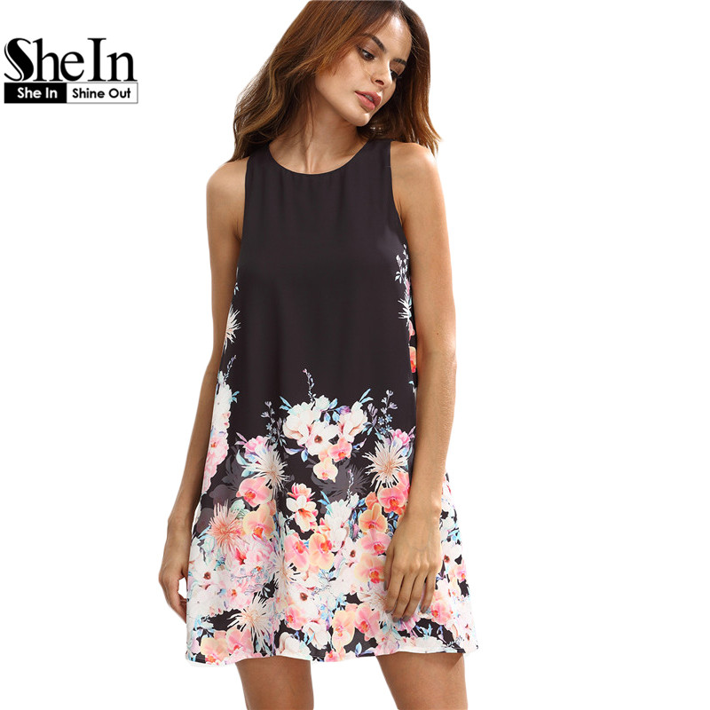 Shein vestidos casuales para mujeres bobo verano dress ladies multicolor floral