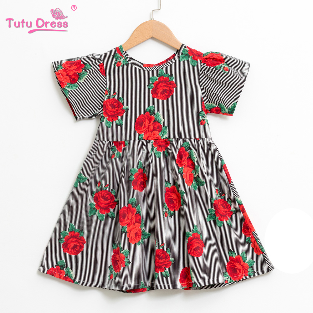 2018 New Arrival Girls Summer Printed Floral Dresses Girl Outfit Clothing Dress Baby Kids Flower Clothing luoyamy new arrival baby girls summer banana printed dress kids fashion beach clothes children outdoor o neck clothing