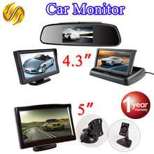 Viecar LCD Car Monitor TFT Display Desktop / Foldable / Mirror Monitor 4.3'' Video PAL/NTSC Auto Parking Rearview Backup(China)