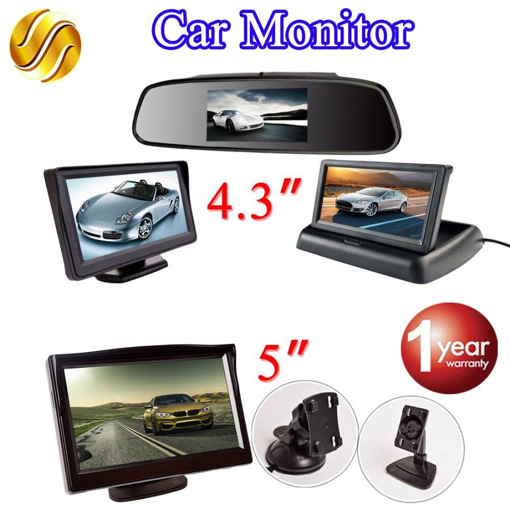 Viecar LCD Car Monitor TFT Visualizzazione Del Desktop/Pieghevole/Monitor Dello Specchio di 4.3 ''Video PAL/NTSC Auto di Parcheggio retrovisore di Backup