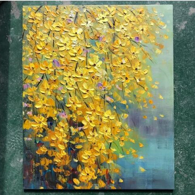 Handpainted abstract knife flower oil paintings on canvas home decor handpainted abstract knife flower oil paintings on canvas home decor wall art pictures large yellow 3d mightylinksfo