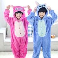 Children Kids Animal Onesie Pijamas Blue Pink Stitch Pajamas Cosplay Party Costume Pyjamas Boys Girls Sleepwear