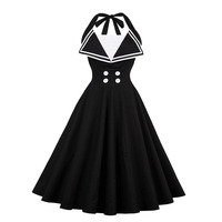 Sisjuly 2017 Summer Retro Dress Female Party Dress Solid Black Dresses Knee Length Backless Lace Up