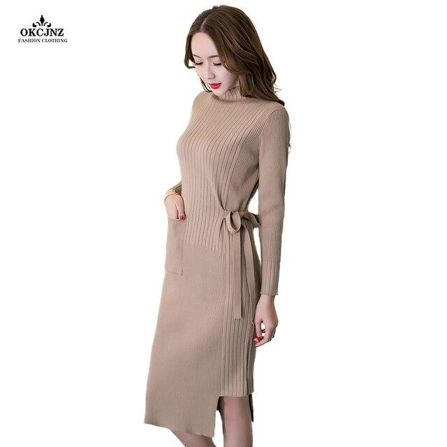 0fb1b40b504 Spring Autumn Women Midi Dress Turtleneck Knitted Sweater Dress Casual  Elegant Long Sleeve Irregular Slim Sheath Dresses OK45Q