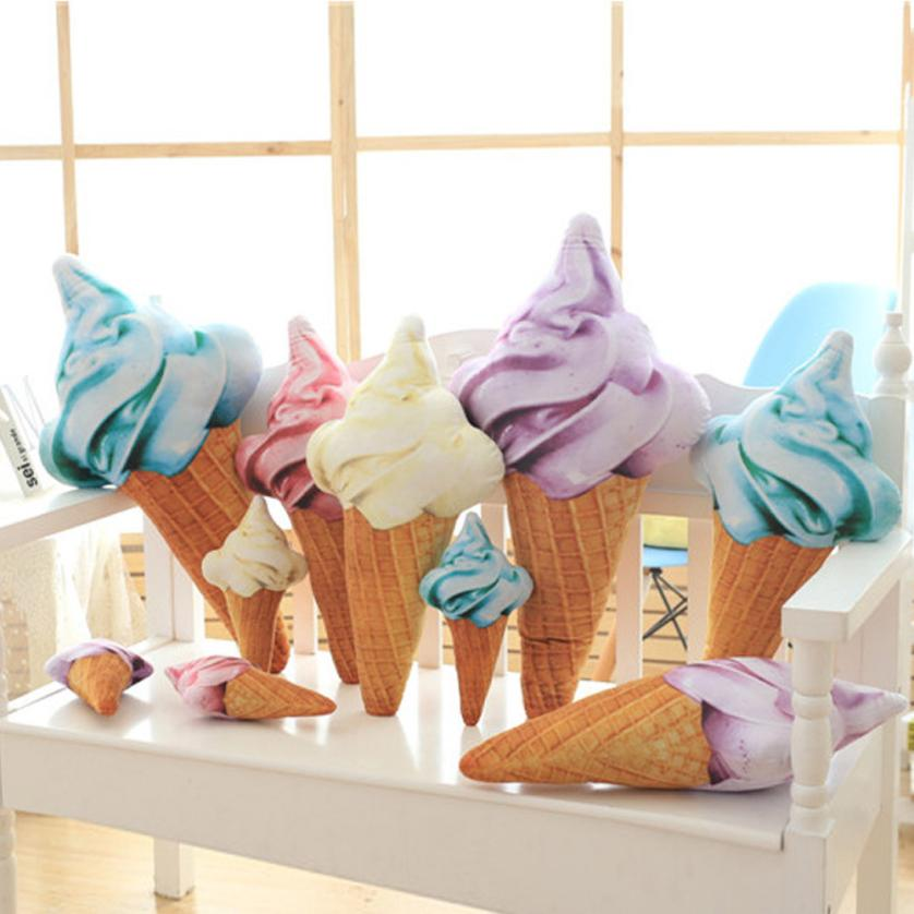 CAMMITEVER Creative 3D Ice Cream Shape Cushion Doll Plush Toy Pillow Bed Seat Use Home Decor Gift