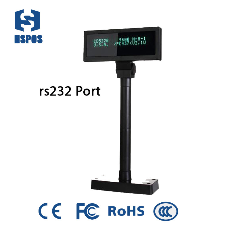 RS232 interface 20*2 VFD pos customer display widely used for pos system in supermarket,hypermarket HS-VFD2012s vfd customer display cash register customer display usb rs232 interface
