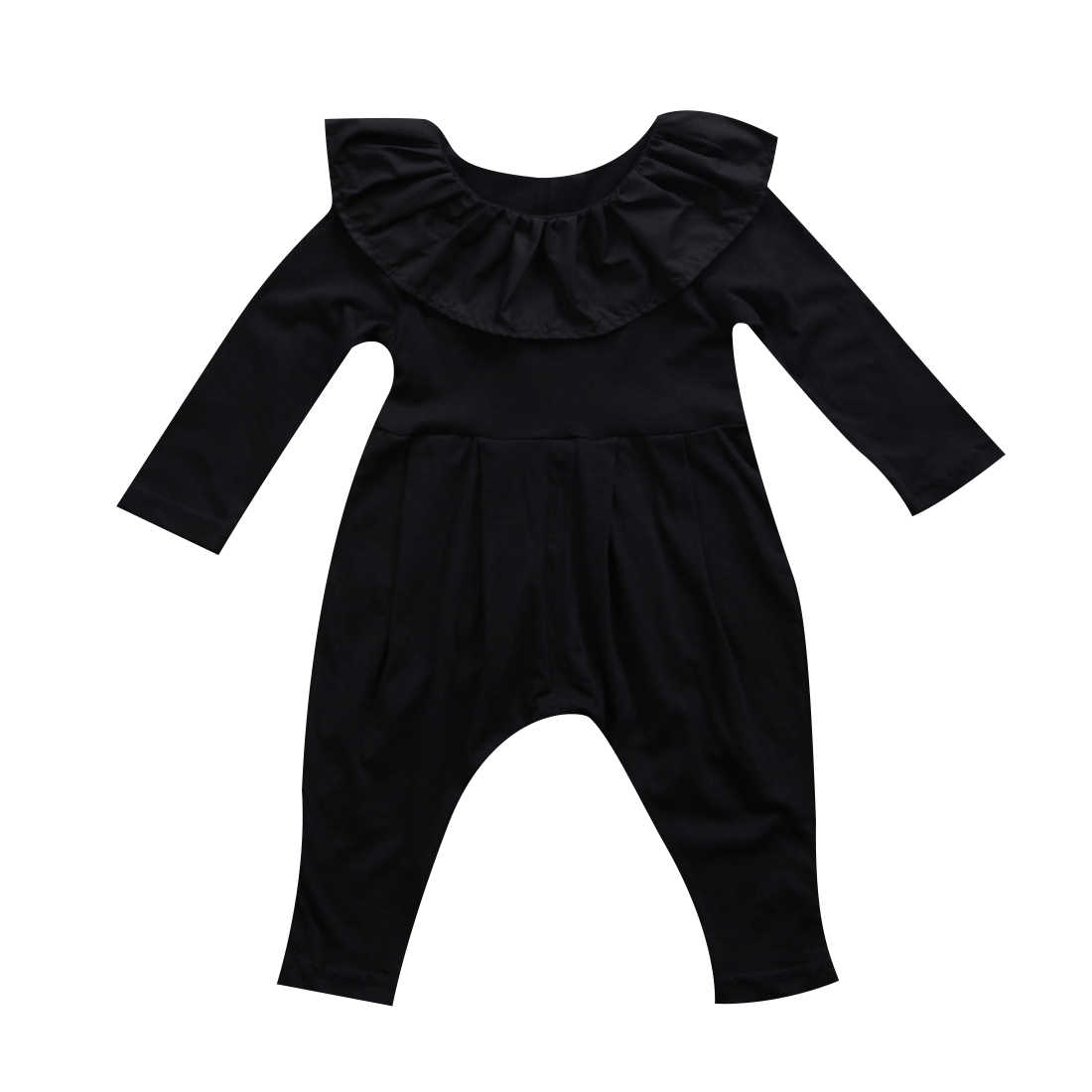36ac5d1c73e7 2018 Newest Brand Newborn Baby Girls Ruffle Black Solid Long Sleeve Vintage  Style Romper Clothes 3