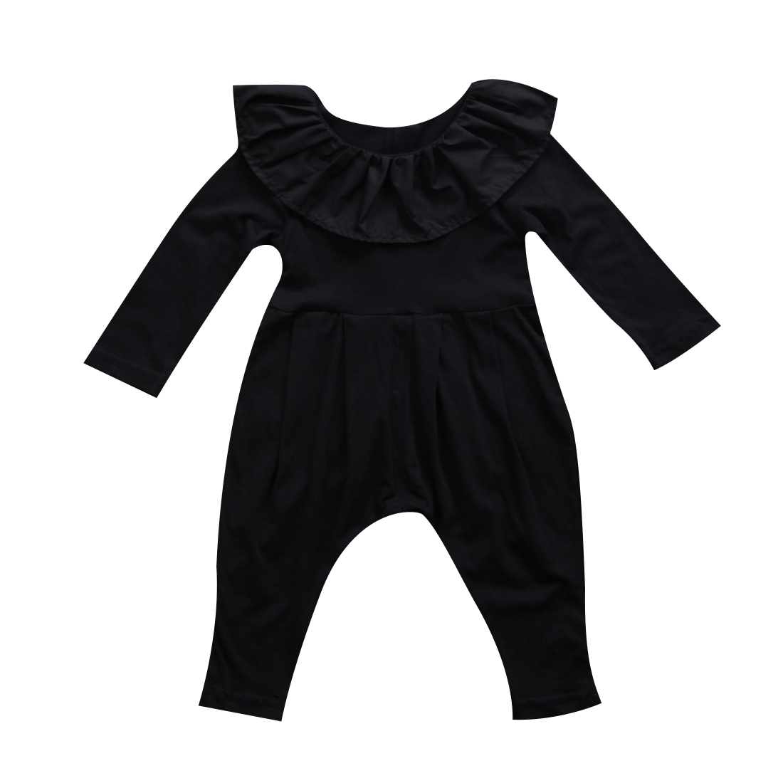 Cute Baby Girl Clothes Newborn Infant Baby Girl Black Ruffle Collar Long Sleeve Romper Clothes Outfits Baby Autumn Spring Romper belted flounce satin ruffle romper