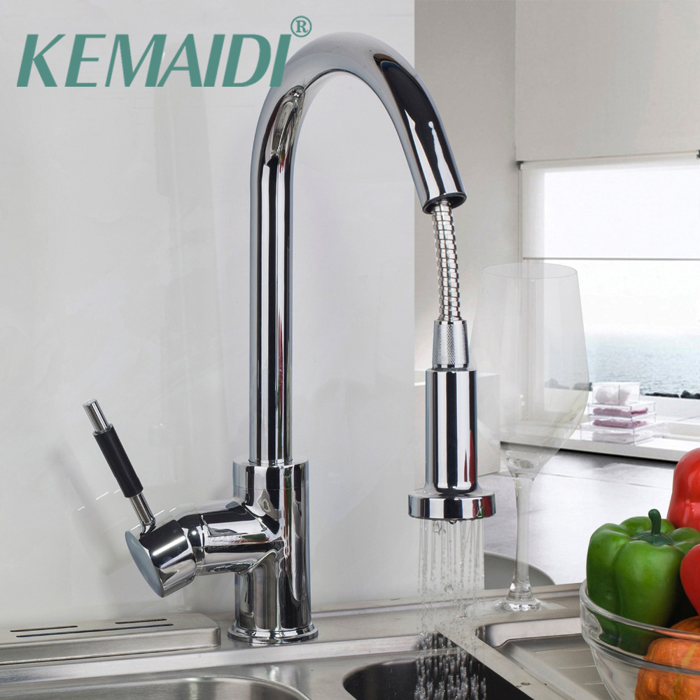 цена на KEMAIDI 360 Swivel Pull Out Stream Spout Chrome Brass Deck Mounted Tap kitchen Sink Faucet Hot & Cold Mixer Polish Taps