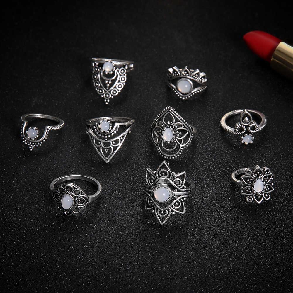 לערבב אופל אבן גיאומטריה פרח טבעות סט לנשים Boho תכשיטי ייחודי קריסטל גילוף Knuckle Midi טבעת מסיבת חתונת 2020