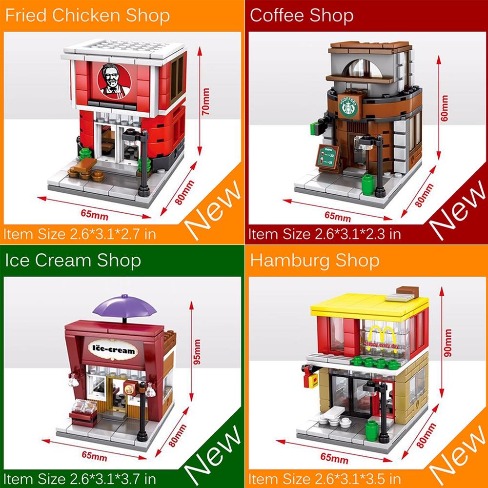 4pcs/Set Mini Street View Building Bricks Blocks City Toys Fast Food Coffee Shop Ice Cream Store Hamburg Shop Fried Chicken Shop münchner philharmoniker elbphilharmonie hamburg