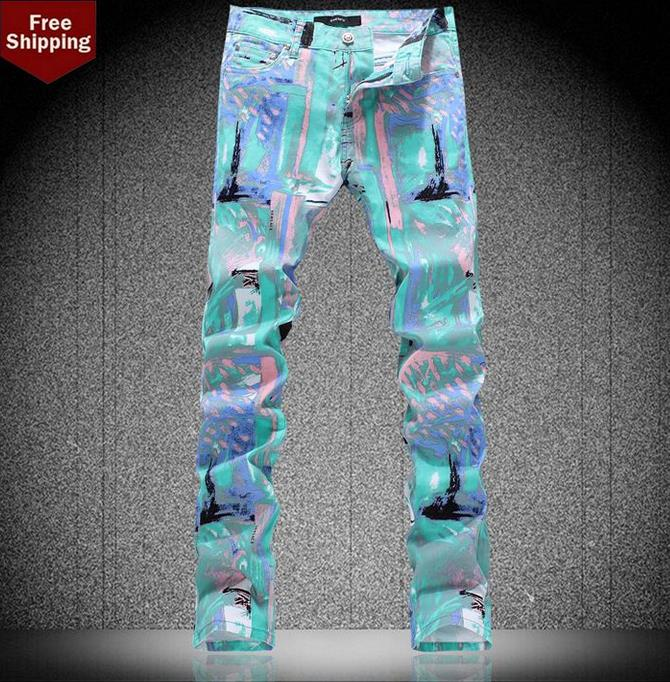 ФОТО Autumn 2016 fashion england famous brand printing jeans men pant denim trousers male straight personalized british style singer