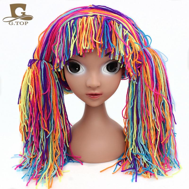 New Clown Wig Girls Halloween Costume Wig Funny Hat Handmade Winter