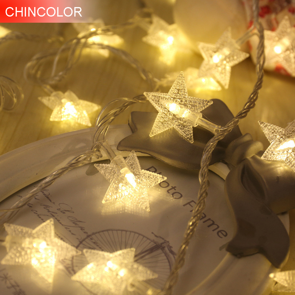 1-3M 10-30LEDS Holiday Lights Star Led Light String Multicolor Battry Operation Christmas Wedding Valentine Day Fairy Decor F