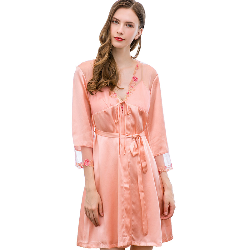 Summer New Real Natural Silk Robe Gowns Set For Women Lace Flower Embroidery Sexy 2Pcs Suit Women's Sleepwear Nightwear Sleep