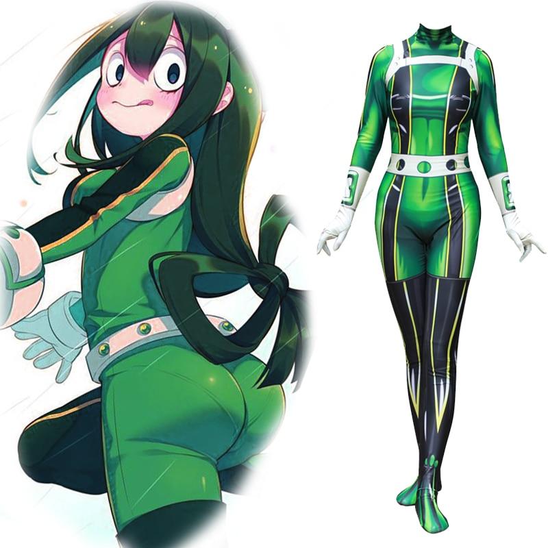 My Hero Academia Asui Tsuyu Cosplay Costume Jumpsuits Zentai Combat Suit Spandex Lycra Halloween Costume
